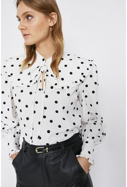White Spot Oversize Collar Blouse