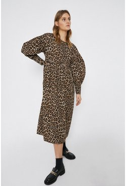 Leopard Oversized Smock Midi Dress