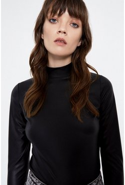 Black Faux Leather Funnel Neck Top
