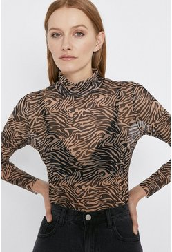 Animal Mesh Funnel Neck Top