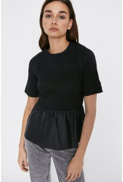Black Shirred Short Sleeve Faux Leather Top