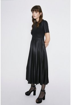 Black Shirred Waist Pleated Faux Leather Dress