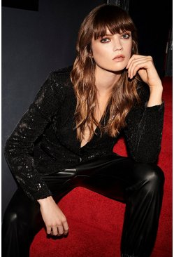 Black Sequin Collarless Blazer
