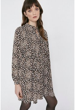 Animal Print Tie Neck Oversized Dress