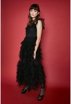 Black Tiered Tulle Midi Dress