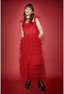 Red Tiered Tulle Midi Dress