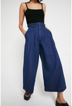 Mid wash Wide Leg Denim Culotte