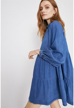 Mid wash Denim Tiered Mini Smock Dress
