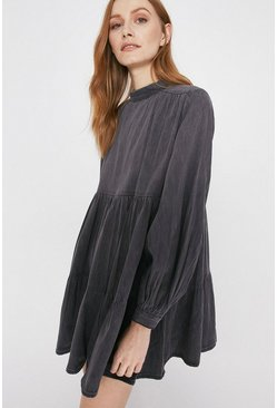 Washed black Voluminous Smock Dress