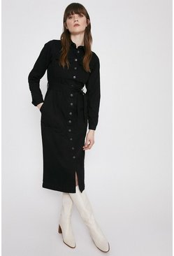 Black Denim Belted Shirt Dress