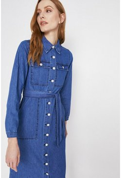 Mid wash Midi Belted Shirt Dress