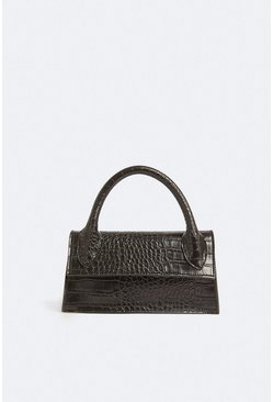 Black Croc Cross Body Bag