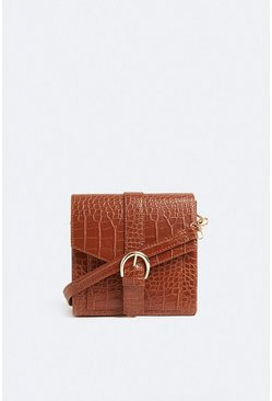 Brown Croc Buckle Detail Cross Body Bag