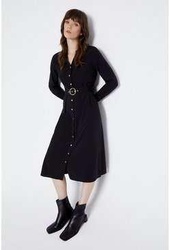 Black Button Detail Shirt Dress