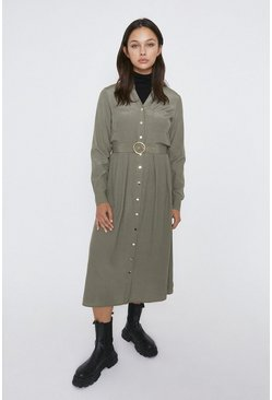 Khaki Button Detail Shirt Dress