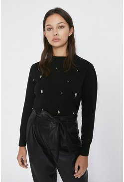 Black Scatter Diamante Puff Sleeve Jumper