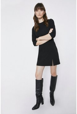 Black 3/4 Sleeve Split Front Crepe Dress