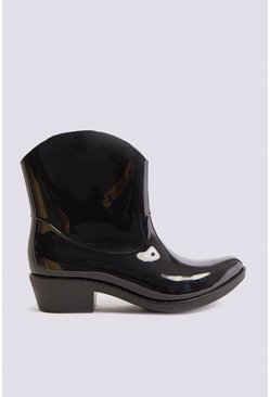 Black Western Style Wellington Boot