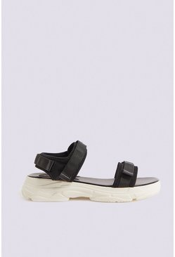 Black Sporty Contrast Sole Sandal