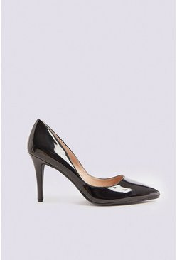 Black Patent Pointed Heeled Pumps