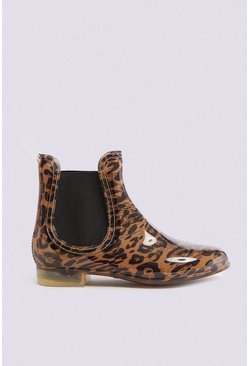 Tan Leopard Print Wellington Boot
