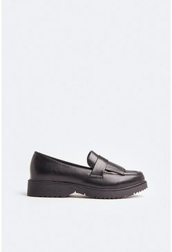 Black Fringed Loafer