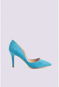Turquoise Faux Suede Pointed Heeled Pumps