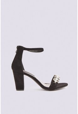 Black Diamante Detail 2 Strap Heels