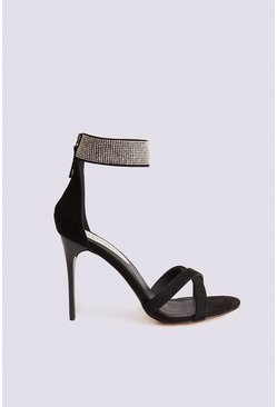 Black Diamante Ankle Strap Heel