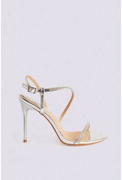 Silver Diamante Strappy Heeled Sandal