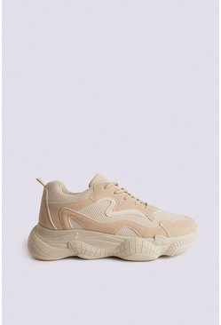 Sand Suedette And Mesh Mixed Chunky Trainer