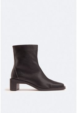 Black Seamed Low Heel Ankle Boot