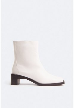 White Seamed Low Heel Ankle Boot