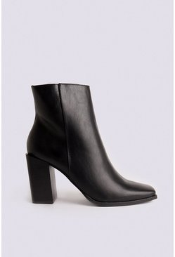 Black Square Toe Side Zip Ankle Boot