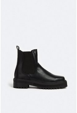 Black Square Front Chunky Pull On Boot