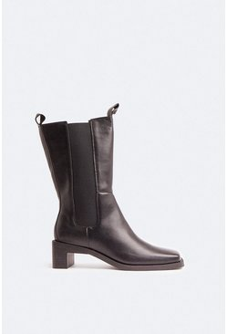 Black Seamed Detail Mid Calf Boot