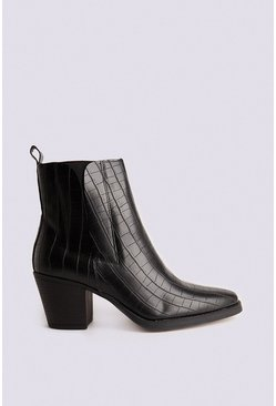 Black Faux Leather Croc Western Boot