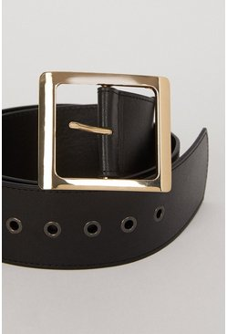 Black Faux Leather Wide Belt