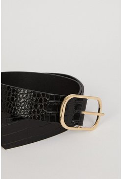 Black Faux Croc Wide Belt