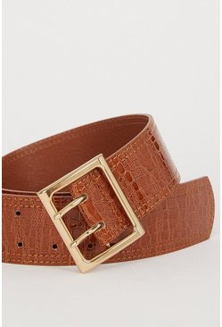 Brown Double Prong Wide Belt