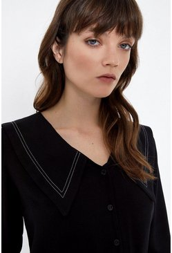 Black Topstitch Collar Detail Blouse