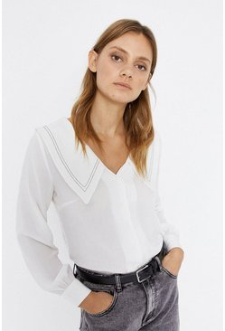 Cream Topstitch Collar Detail Blouse