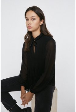 Black Tie Neck Micro Pleat Ruffle Neck Top
