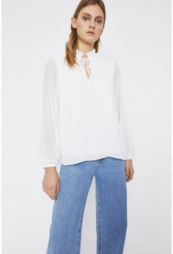 White Tie Neck Micro Pleat Ruffle Neck Top