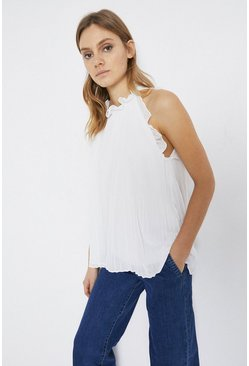 White Tie Neck Micro Pleat Ruffle Neck Cami