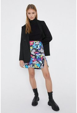 Black Side Split A-Line Mini Skirt