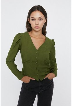 Sage Textured V Neck Button Detail Top