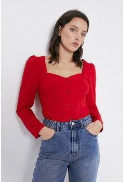 Red Sweetheart Neck Button Detail Top