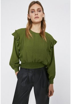 Dark green Smock Waist Top