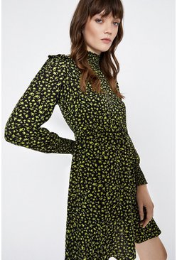 Black High Neck Floral Smock Dress
